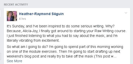 image of testimonial from customer of raw writing