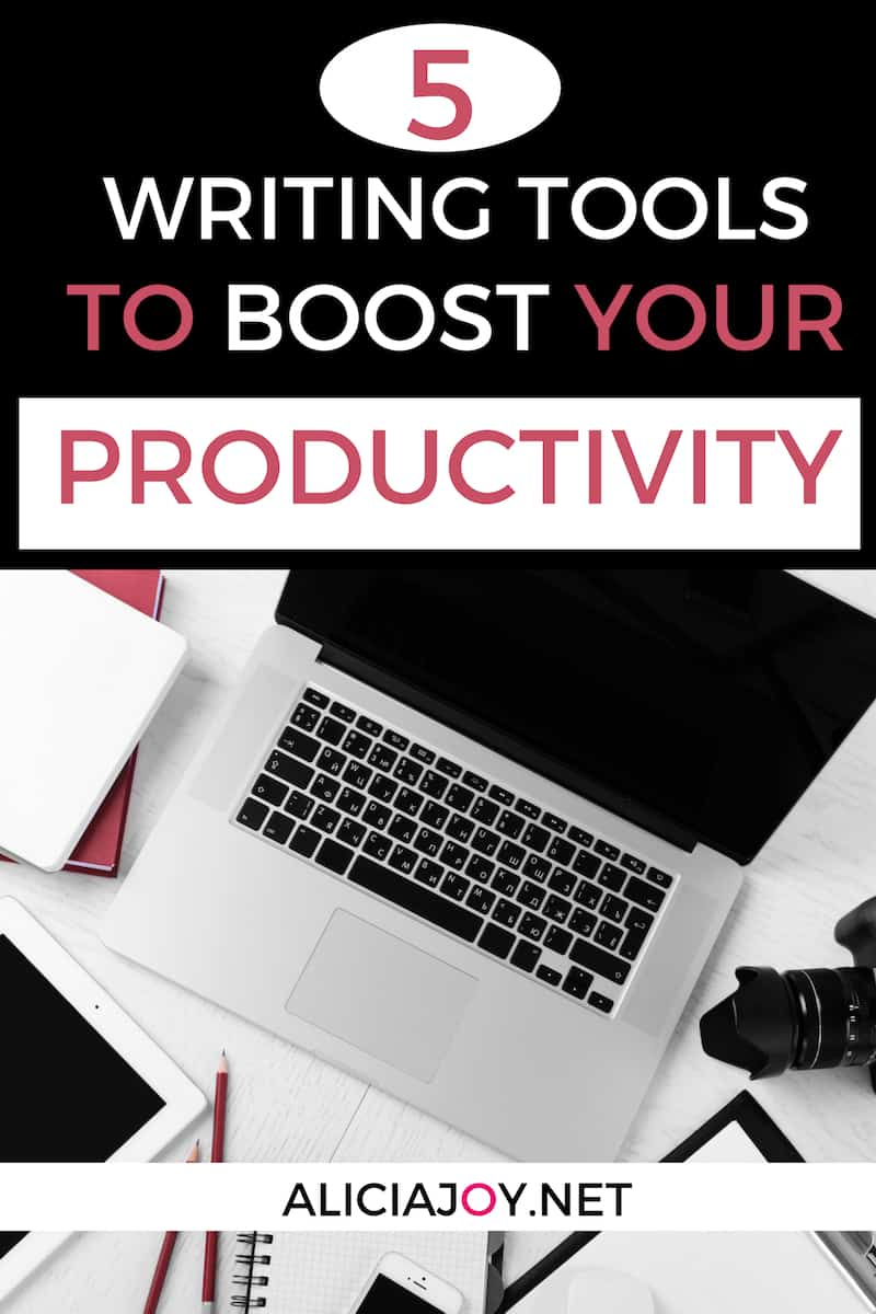 image of open laptop on surface with text box above, with words: 5 Writing tools to boost your productivity