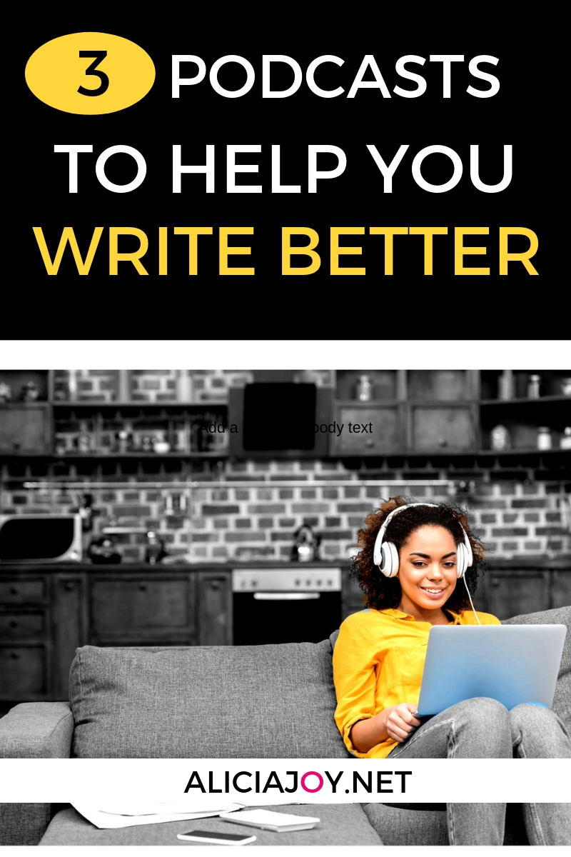 image of person sitting on couch with laptop with text box above image that reads: 3 Podcasts to Help You Write Better Content