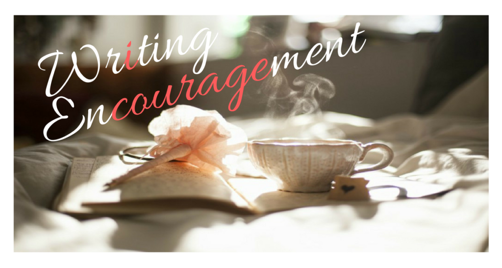 image of open book cup with hot beverage and text overlay reading: writing encouragement