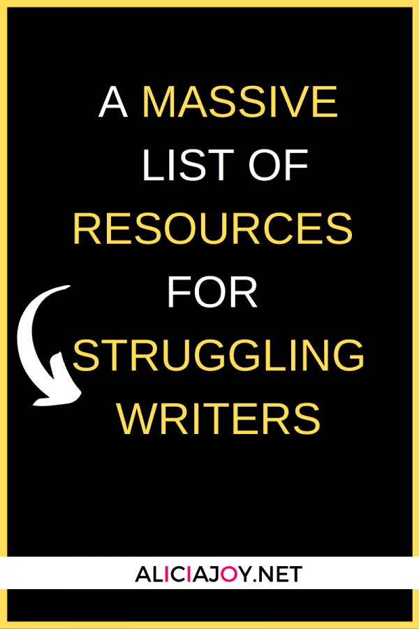 image of text box massive list of resources for struggling writers