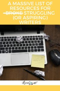 image of laptop keyboard on a desk with text above reading the following A Massive List of Resources for Struggling Writers