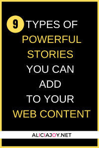 image of text box 9 types of powerful stories you can add to your web content
