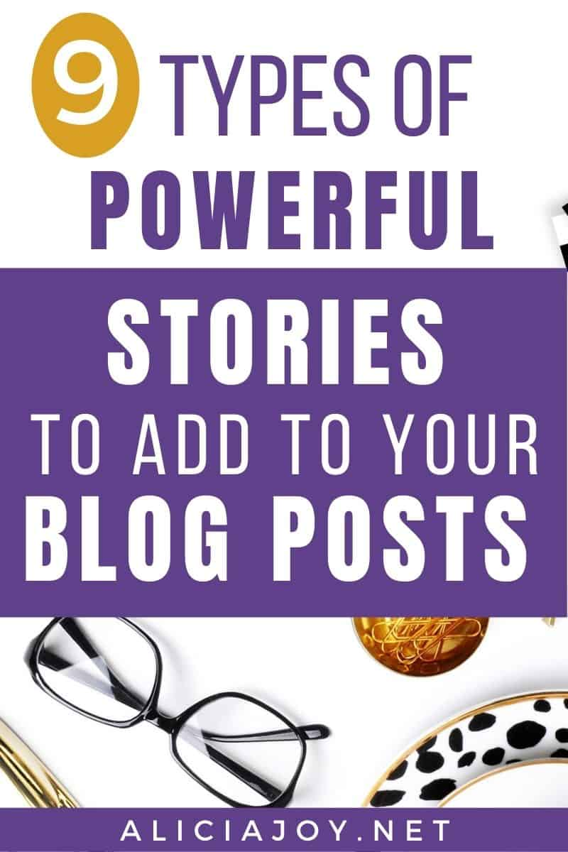 image of text box with 9 types of powerful stories to add to your blog posts