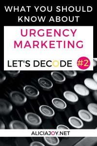 image of typewriter keys with text box urgency marketing let's decode