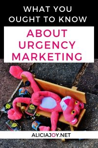 image of pink panther stuffed animal with text above what you ought to know about urgency marketing
