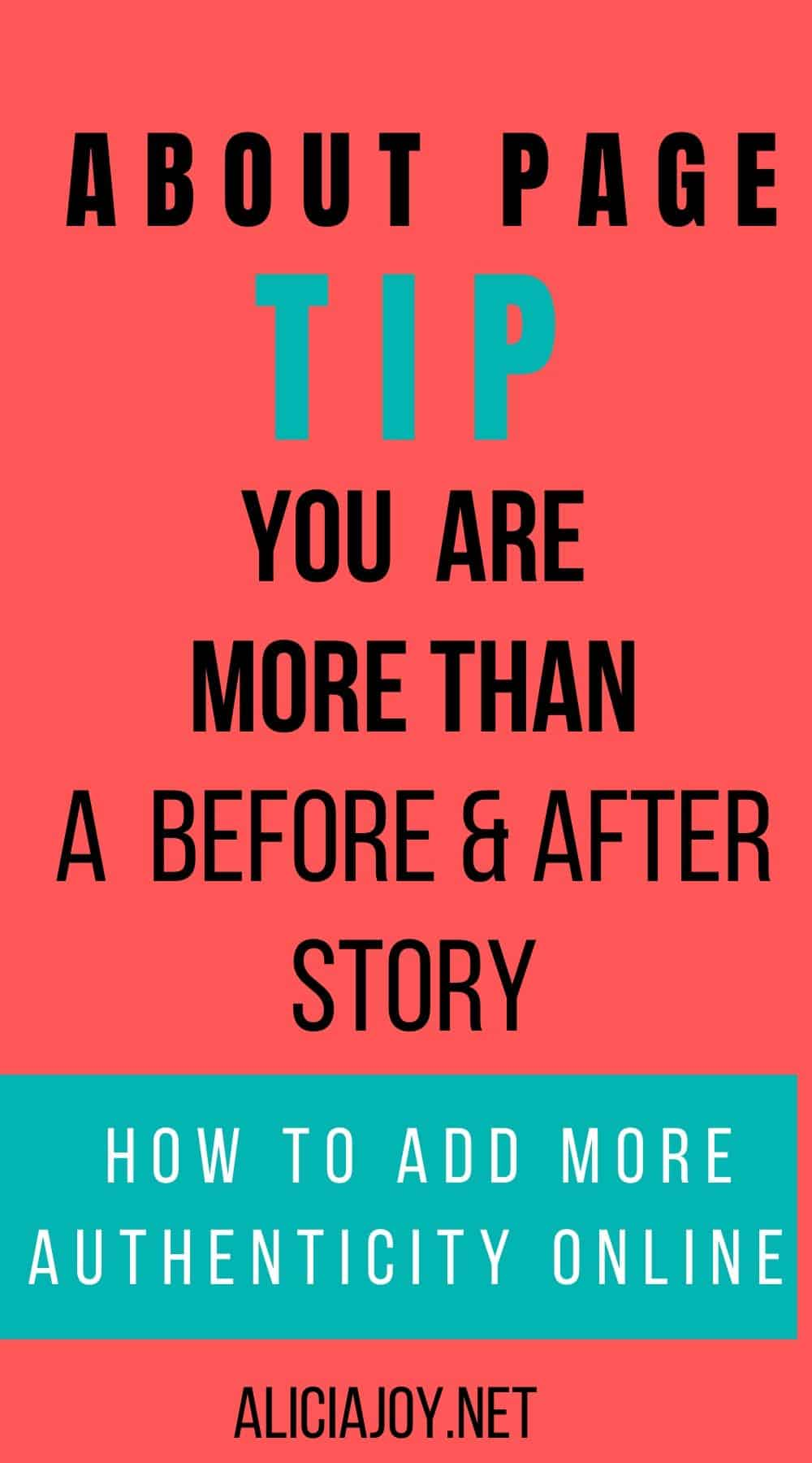 About page tip: you are more than a before and after story